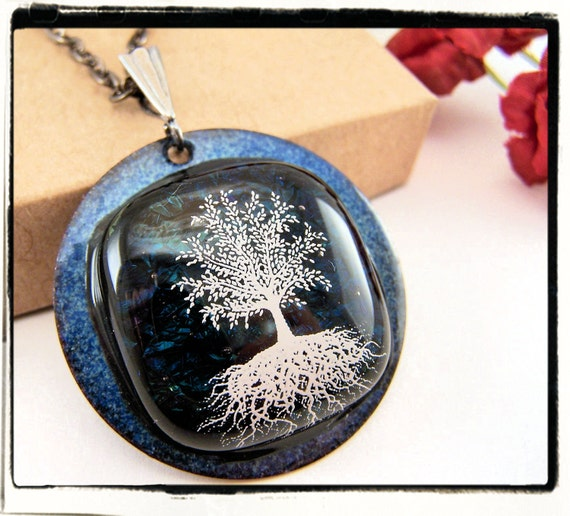 013 Blue and Black Dichroic Fused Tree of Life Pendant Silver Bail no Chain