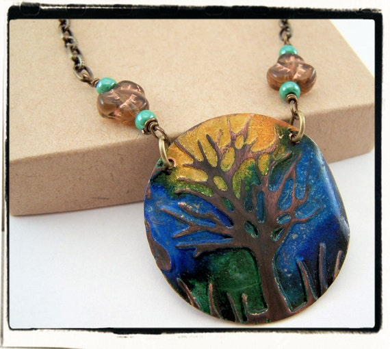 088 Summer Skies Hand Painted Blue Green Yellow Tree of Life Necklace with Chain