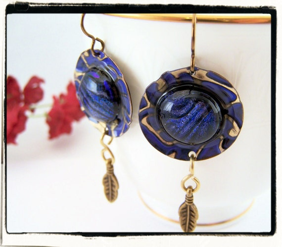 002 Blue Swirl Dichroic Fused Glass Earrings with Brass Etched Painted Discs