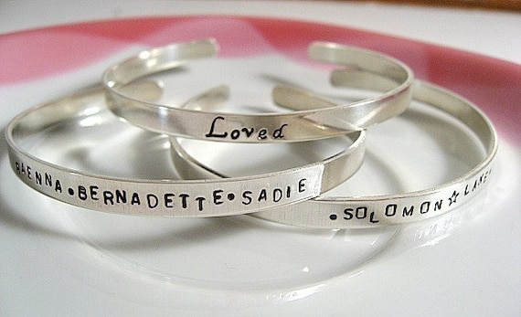 Silver Stamped Cuff Bangle Bracelet Personalized for Jill09