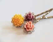 3 Lovely Hair Pins Set 11 - Victorian Floral design with Silver plated Bobby Pin