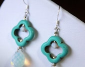 CLEARANCE - Trisha - Turquoise Clover and White Opalites and Swarovski Elements Crystals Earrings