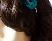 Electric Blue Teal Poppies with Black Lace on Finished Stainless Steel Silver Headband Hairband. Weddings. Something Blue (Made to Order)