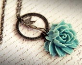 Teal Rose and Angel Antique Brass Necklace . I Wish .Fairy . Cabbage Rose . Whimsical . Turqoise . Blue Green . Dream . Hope. Trust . Love