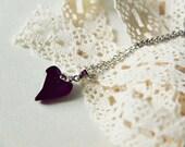 Arrow Heart Necklace - Onyx Black Swarovski Elements Crystal Heart Pendant. Stainless Steel Chain. Solid Black. Minimalist. Valentine. Love