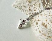 Arrow Heart Necklace - Light Pale Gold Swarovski Elements Crystal Heart Pendant. Stainless Steel. Minimalist. Valentine. Love. Timeless