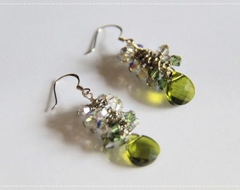 Green Sparkles - Swarovski Elements crystals and 925 white gold ear wires . Wedding. Olivine. Green. Spring