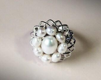 Freshwater Pearls Dahlia Filigree Ring