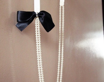 Black Tie Affair - Black Satin Ribbon Bow with Swarovski Elements Pearls Necklace . Formal . Elegant . Weddings (Made to Order)