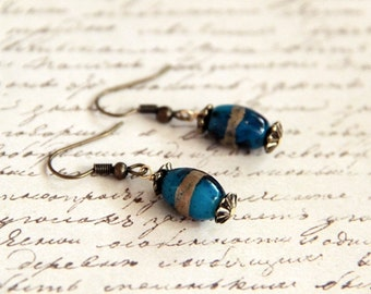 Shades of Peacock Blue - Cobalt Blue with Gold Stripes Beads with Antique Gold Bead Caps on Antique Brass Ear Wires