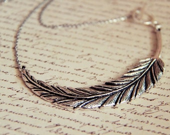 Large Silver Feather on Stainless Steel Necklace (Last One)