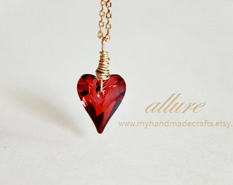 Gold Allure Necklace - Magma Red Swarovski E Crystal Heart Pendant. 14K Gold Plated. Minimalist. Valentine. Love. Romance. Arrow Heart