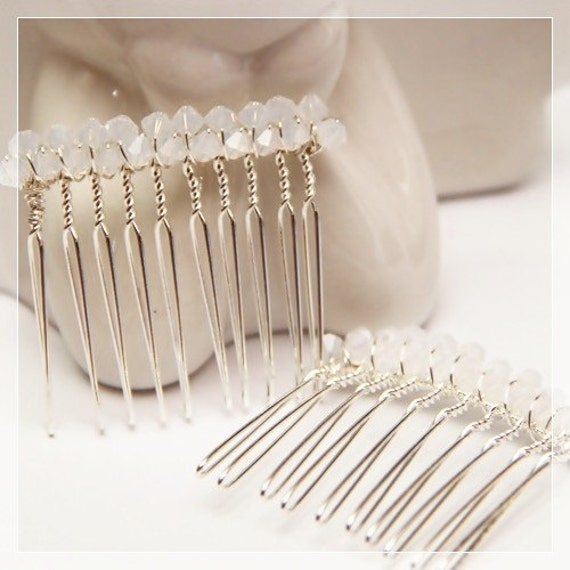 Set of 2 Gorgeous Swarovski Elements White Opal Crystals Silver Plated Combs (Suitable as wedding hair-piece for bride and bridesmaids)