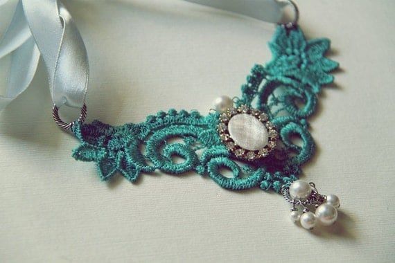 Victorian Style Turquoise Teal Venice Lace Necklace Bib Choker. Upcycled Earring. Swarovski E Pearl. Wedding. Photography. Vintage Style