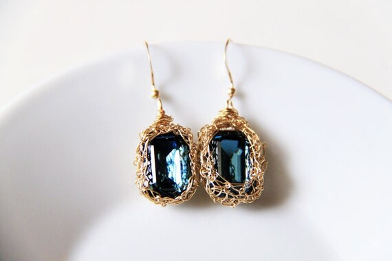 Sapphire Blue Swarovski on Crocheted Gold Anti-Tarnish Artistic Wire. 14K Gold Filled Ear Wires. Weddings. Earrings. Regal (Made to Order)