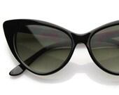 Super Cat Eye Sunglasses Deadstock Womens Fashion Cateyes 1960s Era (Black/Smoke)