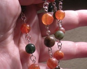 Fire and Forest Orange Fire Crab Agate and Green and Brown Indian Agate Wirewrapped  Necklace by TriannasTreasures