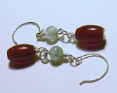 Fire Red Carnelian and Ice Blue Aquamarine Earrings by TriannasTreasures