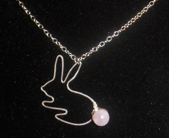 Bunny Sitting with Rose Quartz in Sterling Silver