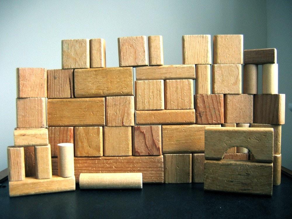 Vintage playskool natural color wood blocks by littleedithbee