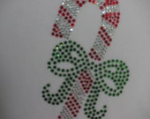 Candy Cane iron on rhinestone transfer in 3 sizes for Christmas dress or t shirt WHOLESALE available