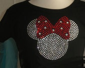 2T Red/clear Minnie Mouse rhinestone T-SHIRT for Disney costume