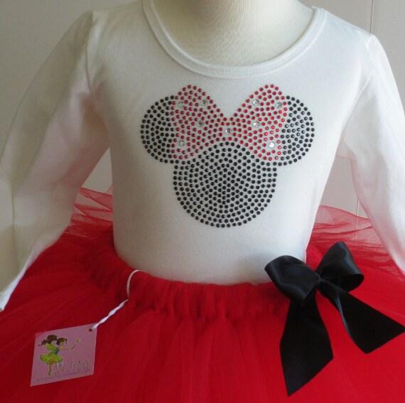 Minnie Mouse costume 2T Disney dress red tutu & Long Sleeve rhinestone top
