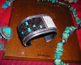 American Indian Artist's  Heavy Silver  Cuff with Turquoise and Heishi Beads / Feather Motif in Silver Vintage