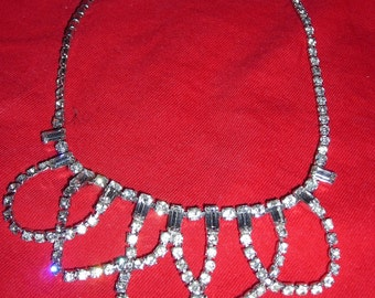 PROM QUEEN /  Articulated White Rhinestone Swag Necklace with baguettes