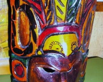 Vintage Polychrome  Wood Totem Wall Decor ..... Hand Carved  ....... Exotic