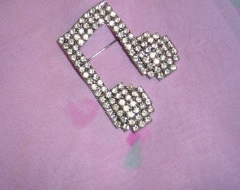 Musical Notes Brooch  /  Pave White Rhinestones