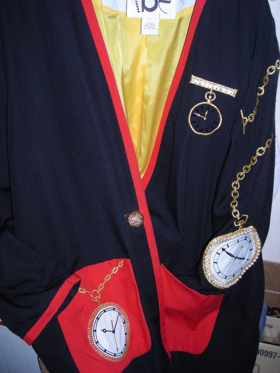 Homage To Salvador Dali / Timepiece  Jacket / Stylized  / Black /  Red / Yellow / Gold / Vintage Jacket