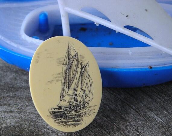 Vintage Faux Ivory Scrimshaw Pin