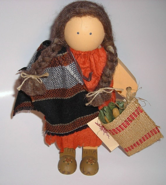 Lizzie High Handmade Doll 1988 / Indian Squaw And Her Papoose / The Thanksgiving Play / Burlap Bag With  Ears Of Corn