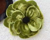 Vintage Velet Greenyellow Flower Clip and Pin