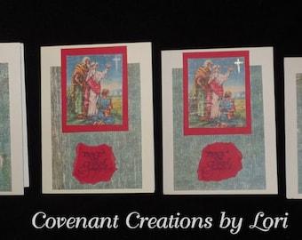 Handmade Christmas Cards - Set of 6 - Distressed-style Shepherds & Star of Bethlehem - FREE Shipping