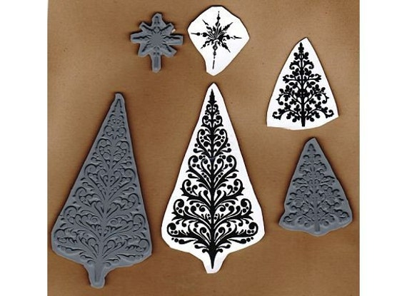 Ornate Christmas Trees and Star Topper - Lot of 3 New UM Rubber Stamps - Cards - ATCs - Domino Art - Scrapbooks - FREE Shipping