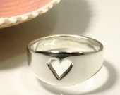Sterling Silver Stolen Heart Ring, Handmade in Maine