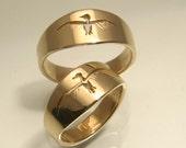 Taking Flight Bird Ring in 14k Yellow Gold, Handmade in Maine