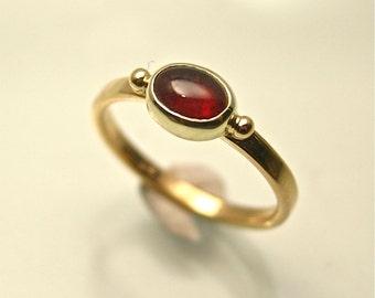 Cherry Red Maine Tourmaline Ladies Gold Ring