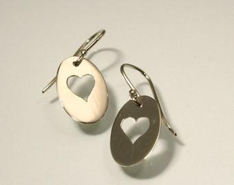14k White Gold Heart Cutout Earrings, Handmade in Maine
