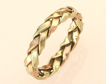 Rose, Green, and Yellow  Gold Braided Ring for the Groom