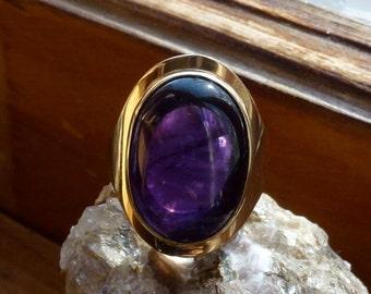 Deer Hill, Large Deep Purple Maine Amethyst Ladies Gold Ring, Handmade in Maine