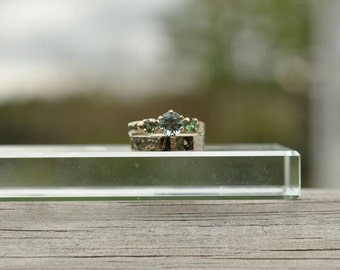 Lake and Mountain Tourmaline Engagement Ring and Puddled Wedding Band
