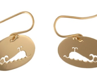 Whale Sillouette 14k Gold Earrings, Handmade in Maine