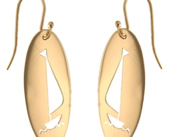 Cutout Sailboat Earrings in 14k Yellow Gold, Handmade in Maine