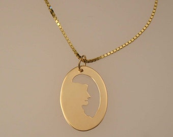 Old Man in the Mountain Pendant, 14k gold New Hampshire