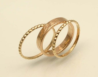 Textured Golden Ring Stacking Set, For Her, Handmade in Maine