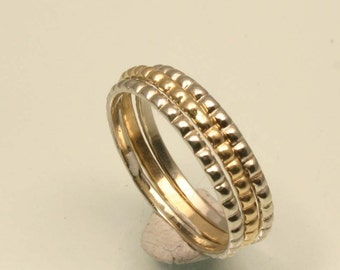 Beaded Texture Gold Set of Stacking Rings For Her, Handmade in Maine