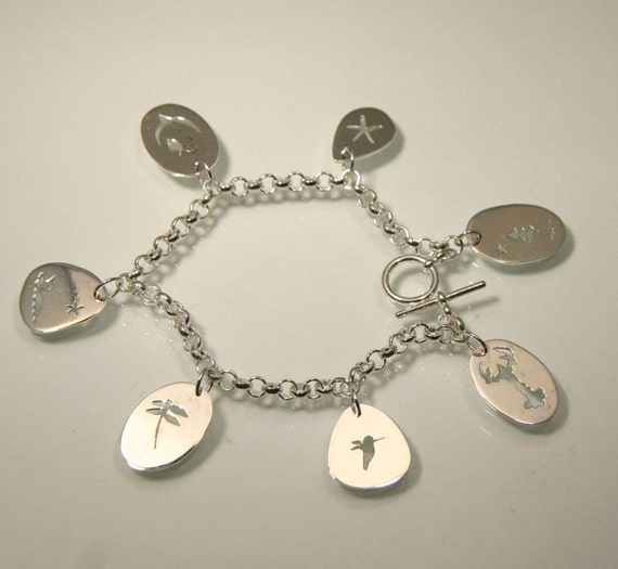 Summer's Lease Hath All Too Short A Date, A Summer Memento Charm Bracelet, Handmade in Maine